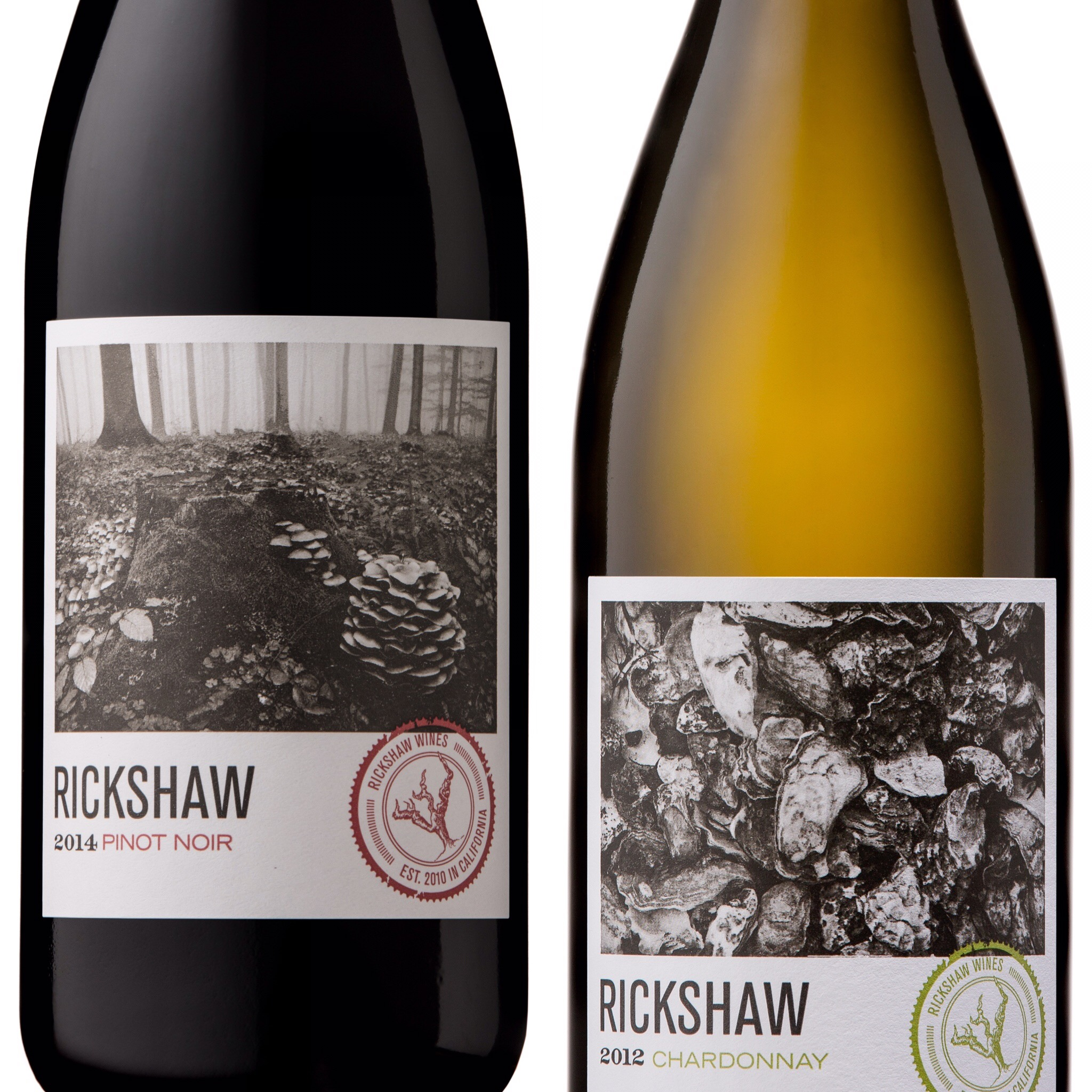 Two bottles of wine with labels for pinot noir and chardonnay