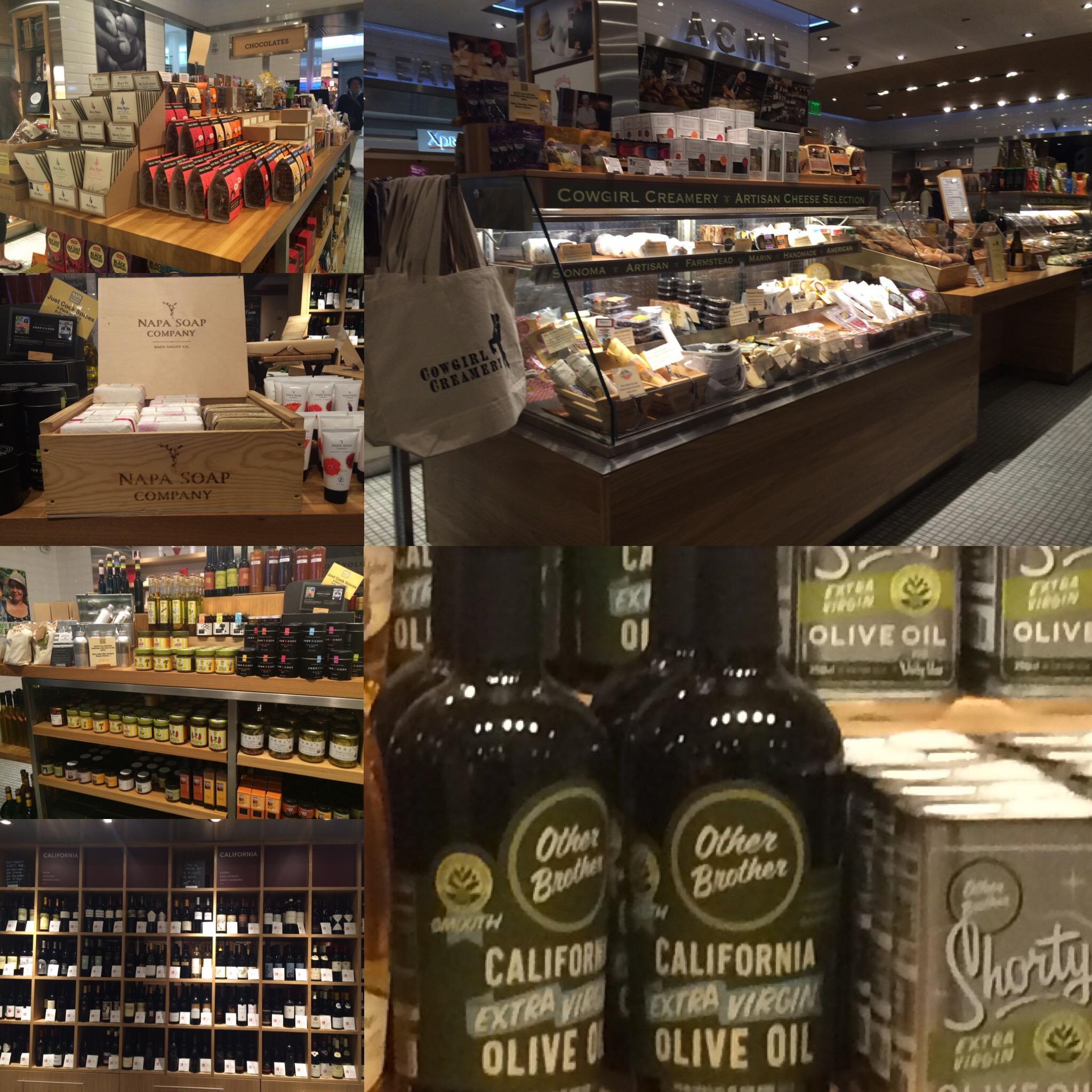 Fine wines, gourmet chocolates and cheeses at the Napa Farms Market at SFO