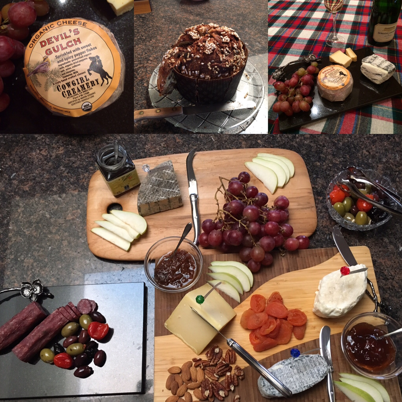 Charcuterie with seasonal cheeses, jams, and panettone on a kitchen island